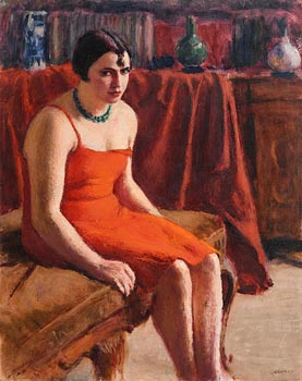 Roderic O'Conor, Seated Woman in a Red Dress / Le Divan c.1925 at Morgan O'Driscoll Art Auctions