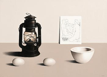 Liam Belton, Oil Lamp with Eggs (2015) at Morgan O'Driscoll Art Auctions