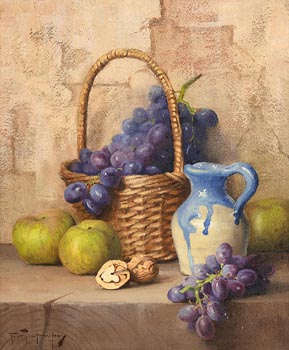 Robert Chailloux, Basket, Grapes, Apples and Walnut at Morgan O'Driscoll Art Auctions