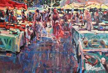Arthur K. Maderson, The Night Market, Le Vigan, France at Morgan O'Driscoll Art Auctions