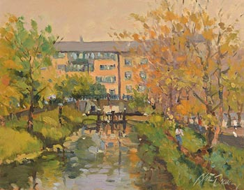 Liam Treacy, Canal at Mount Street, Dublin at Morgan O'Driscoll Art Auctions