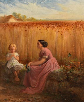 Edward Sheil, Making Daisy Chains at the Corner of a Cornfield (1857) at Morgan O'Driscoll Art Auctions