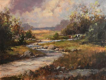 George Gillespie, Cattle Grazing by the Stream at Morgan O'Driscoll Art Auctions