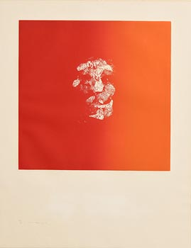 Louis Le Brocquy, Head on Red (1974) at Morgan O'Driscoll Art Auctions