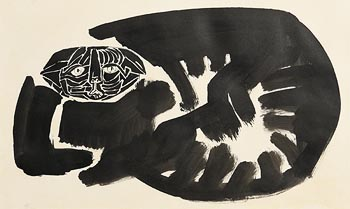 Colin Middleton, Black Cat (1960) at Morgan O'Driscoll Art Auctions