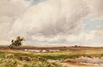 Wycliffe Egginton, Sheep Grazing on the Moors at Morgan O'Driscoll Art Auctions
