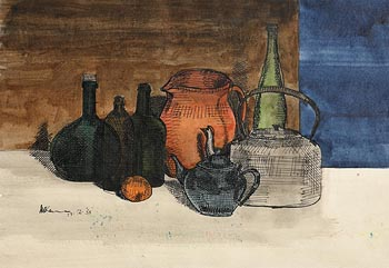 Michael Kane, Still Life with Bottles (1965) at Morgan O'Driscoll Art Auctions