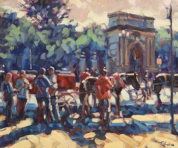 Norman Teeling, Jaunting Cars, St Stephen's Green at Morgan O'Driscoll Art Auctions