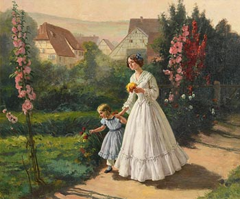 Carl Leopold Voss, Mother and Daughter Picking Flowers at Morgan O'Driscoll Art Auctions