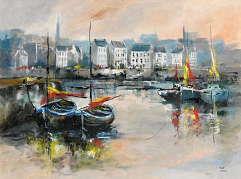 Niall Campion, Galway Hookers, Claddagh, Galway at Morgan O'Driscoll Art Auctions