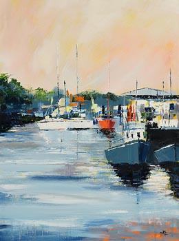 Paula McKinney, Boats at Greencastle, Co. Donegal at Morgan O'Driscoll Art Auctions