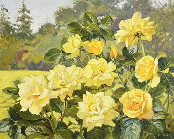 Geraldine  M. O'Brien, Yellow Roses at Morgan O'Driscoll Art Auctions