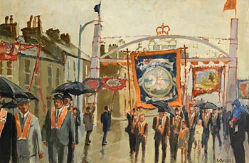 Cecil Maguire, A Wet Twelfth, Queen Street, Lurgan (1972) at Morgan O'Driscoll Art Auctions