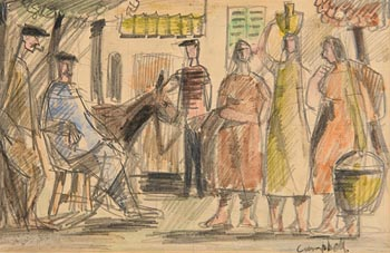 George Campbell, Spanish Villagers at Morgan O'Driscoll Art Auctions
