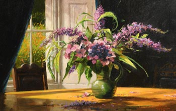 Mat Grogan, Buddley and Hydrangeas at Morgan O'Driscoll Art Auctions
