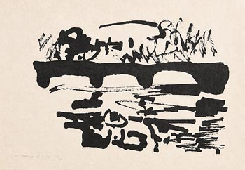 Louis Le Brocquy, Swans, Chapelizod (1986) at Morgan O'Driscoll Art Auctions