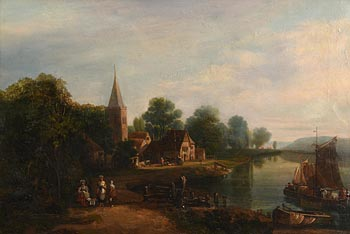 19th Century Dutch School, Village Scene at Morgan O'Driscoll Art Auctions