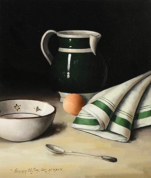 David French Le Roy, Still Life with Jug, Bowl and Egg (2006) at Morgan O'Driscoll Art Auctions