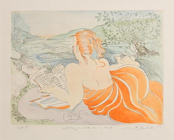 Pauline Bewick, Writing a Book on a Rock at Morgan O'Driscoll Art Auctions