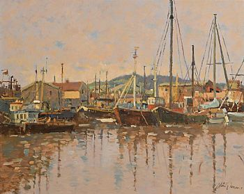Liam Treacy, Evening Glow, Arklow Harbour at Morgan O'Driscoll Art Auctions