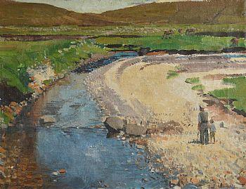 Michael De Burca, Figures by a River, Achill at Morgan O'Driscoll Art Auctions