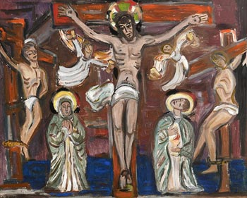 Evie Hone, The Crucifixion (from stone carving at St. Multose Church in Kinsale) at Morgan O'Driscoll Art Auctions