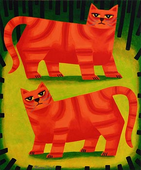 Graham Knuttel, Two Cats at Morgan O'Driscoll Art Auctions