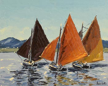 Ivan Sutton, Galway Hookers, Roundstone Bay at Morgan O'Driscoll Art Auctions