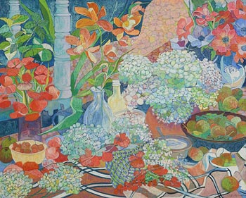Victor Richardson, Still Life with Hydrangea (1990) at Morgan O'Driscoll Art Auctions