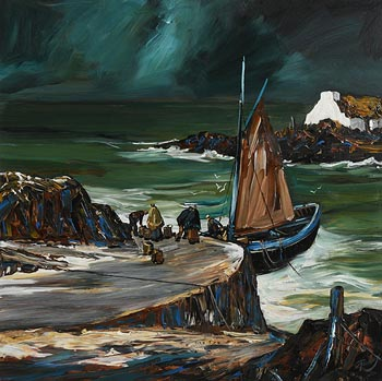 J.P. Rooney, Landing the Catch, West of Ireland at Morgan O'Driscoll Art Auctions