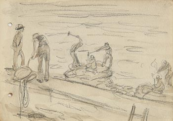Jack Butler Yeats, Building the Pier at Morgan O'Driscoll Art Auctions