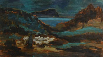 Markey Robinson, Shepherd Tending his Flock at Morgan O'Driscoll Art Auctions