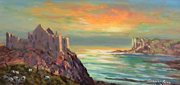 William Cunningham, Early Morning, Sunrise, Dunluce Castle at Morgan O'Driscoll Art Auctions