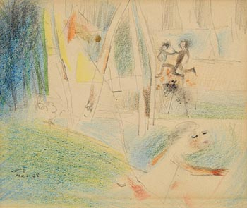 Louis Le Brocquy, Children Playing, Paris (1948) at Morgan O'Driscoll Art Auctions