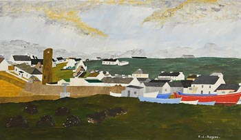 Ruairi L. Rodgers, The Red Boat, Tory Island at Morgan O'Driscoll Art Auctions