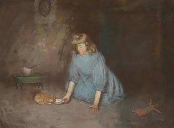 Robert Gemmel Hutchinson, The Kitten's Milk at Morgan O'Driscoll Art Auctions
