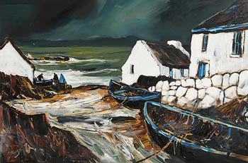 J.P. Rooney, Family Group Against the Sea, West of Ireland at Morgan O'Driscoll Art Auctions