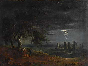 in the style of James Arthur O'Connor, Stonehenge by Moonlight at Morgan O'Driscoll Art Auctions