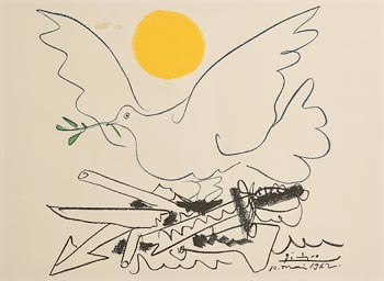 Pablo Picasso, Blue Dove with Yellow Sun at Morgan O'Driscoll Art Auctions