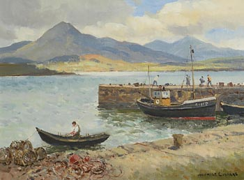Maurice Canning Wilks, Lobster Pots at Ballinakill Harbour at Morgan O'Driscoll Art Auctions