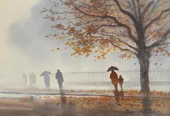 John Skelton, Autumn Mist, St Stephens Green, Dublin (1988) at Morgan O'Driscoll Art Auctions