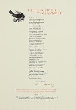 Seamus Heaney, The Blackbird of Glanmore at Morgan O'Driscoll Art Auctions