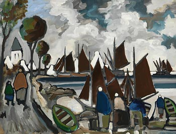 Markey Robinson, Harbour and Shawlies, West of Ireland at Morgan O'Driscoll Art Auctions