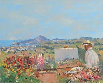 Liam Treacy, Artist in his Garden at Morgan O'Driscoll Art Auctions