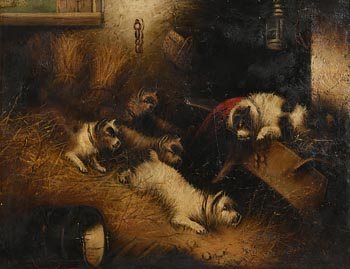 George Armfield, Terriers Ratting at Morgan O'Driscoll Art Auctions