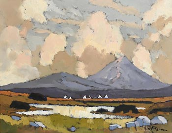 Alex McKenna, Turf Stacks and Cottages, Achill, Near Dugort at Morgan O'Driscoll Art Auctions