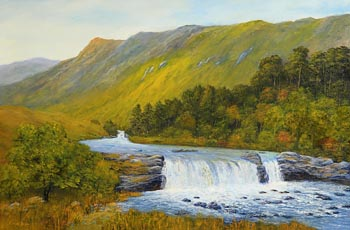 Kieran Tobin, Aasleagh Falls on River Erriff, Co. Mayo at Morgan O'Driscoll Art Auctions