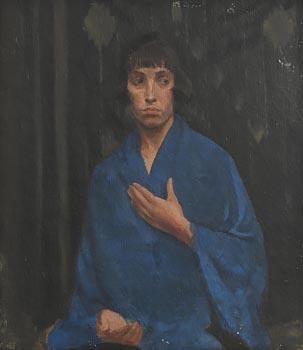 20th Century Irish School, Portrait of Lady in Blue at Morgan O'Driscoll Art Auctions