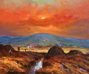 William Cunningham, Working the Turf by Sunset, Connemara at Morgan O'Driscoll Art Auctions