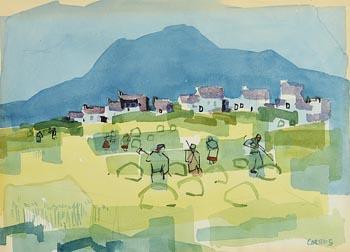 Desmond Carrick, Haymaking Aran Island at Morgan O'Driscoll Art Auctions
